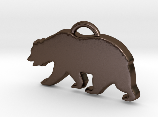 California Bear Pendant in Polished Bronze Steel
