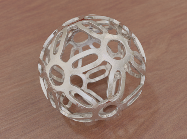 Symmetrical Pattern Sphere in White Natural Versatile Plastic: Medium