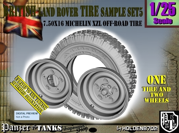 1/25 Land Rover 750x16 Tire and wheels Sample Set5 in Frosted Ultra Detail