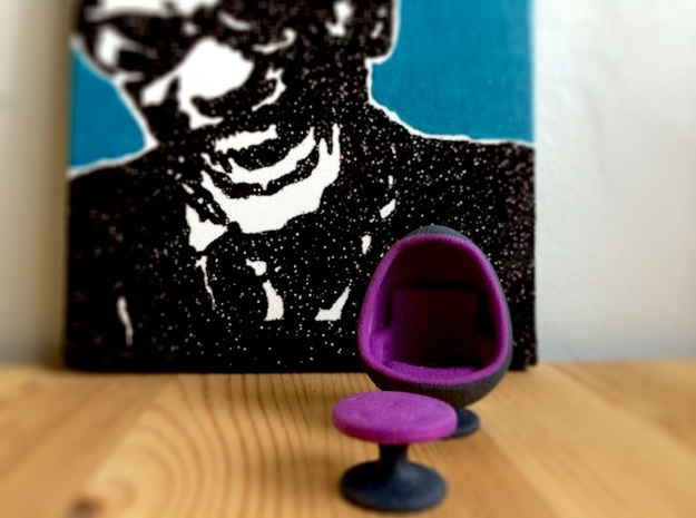 Egg Chair Dome: Purple & Black (1:24 Scale) in Full Color Sandstone