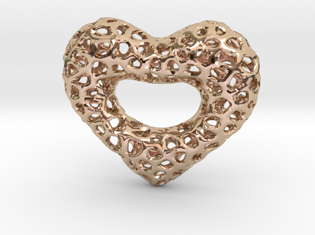 Golden Netted Heart in 14k Rose Gold Plated Brass