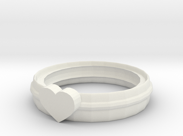 Ring of the heart 5 in White Natural Versatile Plastic: Extra Small