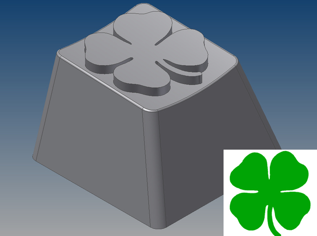 Four-Leaf Clover Keycap (R4, 1x1) in White Natural Versatile Plastic