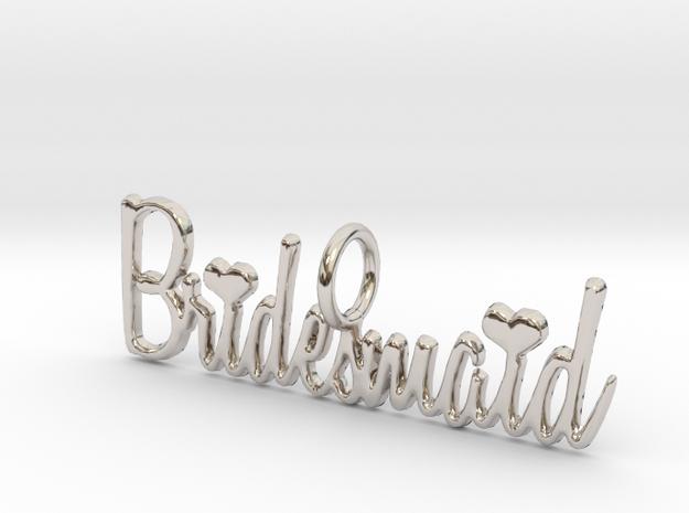 Bridesmaid Heart Pendant in Rhodium Plated Brass