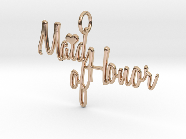 Maid of Honor Heart Pendant in 14k Rose Gold Plated Brass