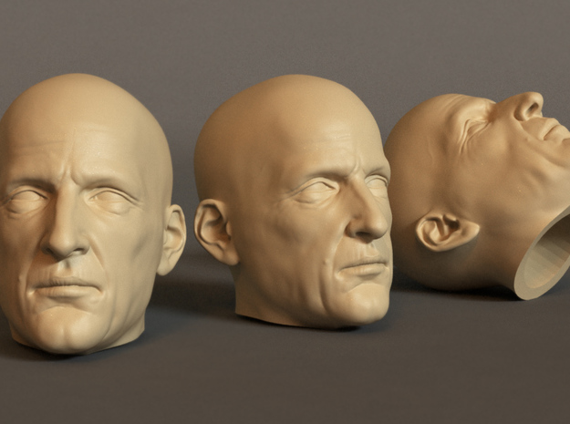 Generic Male Head 1/6 scale figure - Variant 07 in White Strong & Flexible: Small