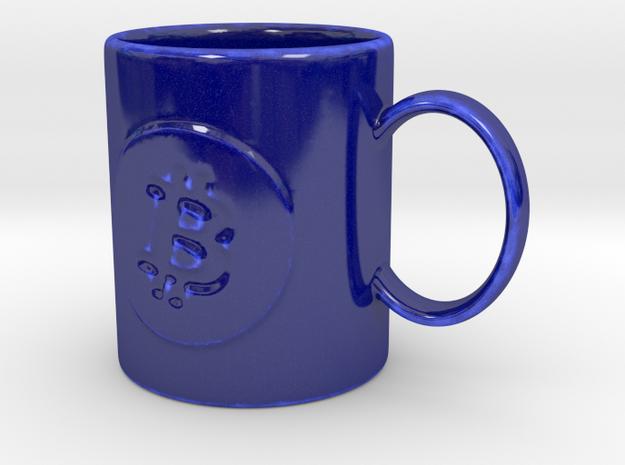 Bitcoin Mug in Gloss Cobalt Blue Porcelain