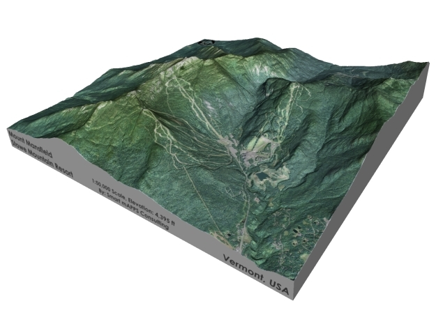 """Mount Mansfield / Stowe Mountain: 6"""" in Full Color Sandstone"""