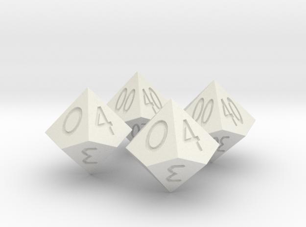 Percent Dice D10 in White Natural Versatile Plastic