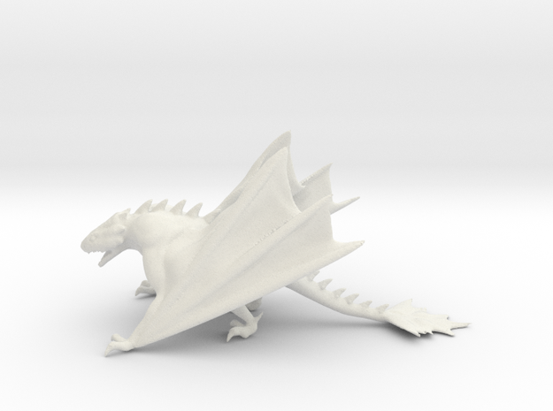 Dragon Model in White Natural Versatile Plastic: Medium
