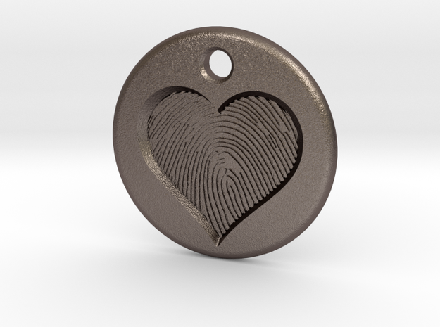 Heart pendent with finger print in Polished Bronzed Silver Steel