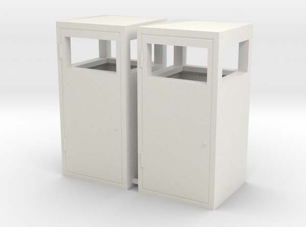 1:24th scale trash bins in White Natural Versatile Plastic