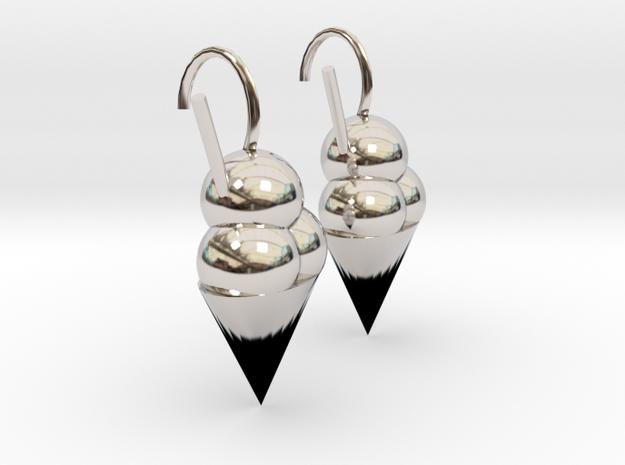 Icecream earrings in Rhodium Plated Brass