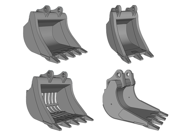 HO - Bucket Set nr.1 for 20-25t excavators in Smooth Fine Detail Plastic