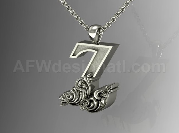 Scroll Letter Z – Initial Pendant in Fine Detail Polished Silver