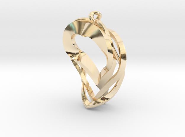 Triple Heart Pendant in 14k Gold Plated Brass