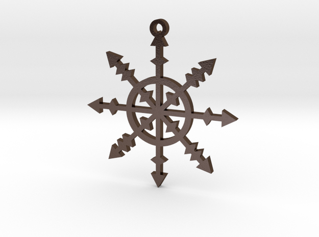Chaos Star pendant in Polished Bronze Steel