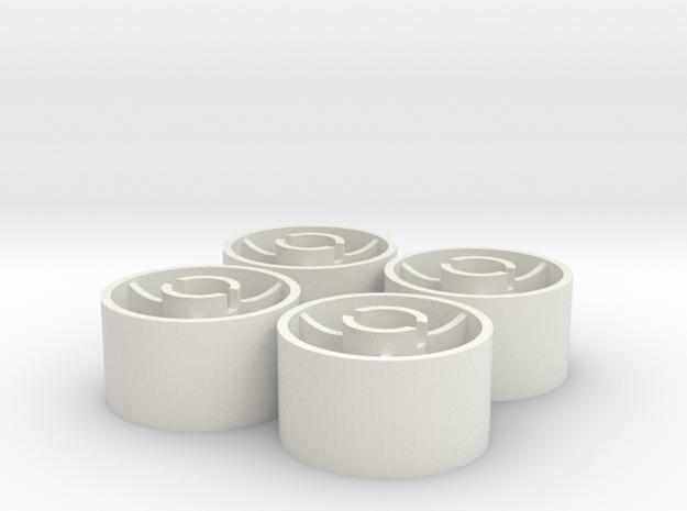 ass 4 jantes arriere D20 plat +0,5 in White Natural Versatile Plastic