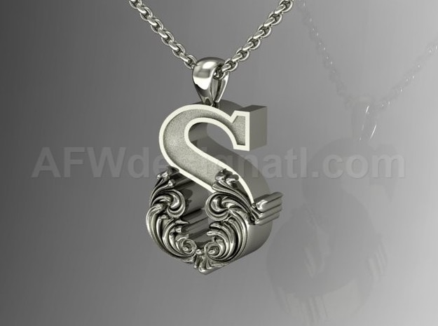 Scroll Letter S – Initial Letter Pendant in Fine Detail Polished Silver