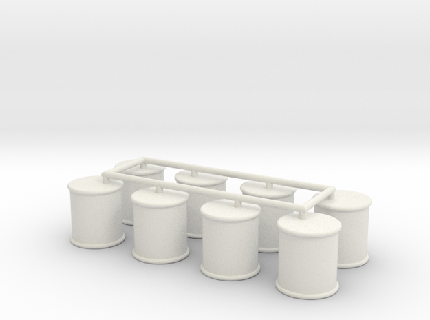 Round Food Can Game Piece Set (8 Cans) in White Natural Versatile Plastic