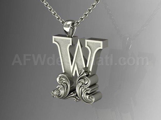 Scroll Letter W – Initial Letter Pendant in Fine Detail Polished Silver