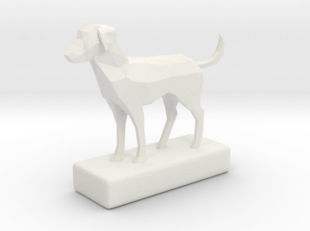 Low-Poly Labrador Figurine in White Natural Versatile Plastic