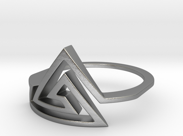Triangular Spiral Ring, Size 8 in Natural Silver