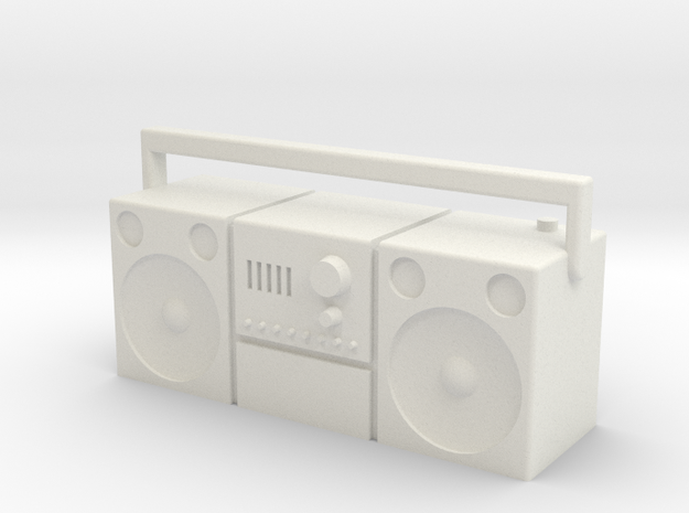 Scale 1/10 radio, cassette player, old type in White Natural Versatile Plastic