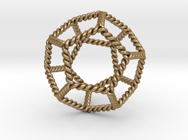 "Twisted Dodecahedron LH 2"" in Polished Gold Steel"