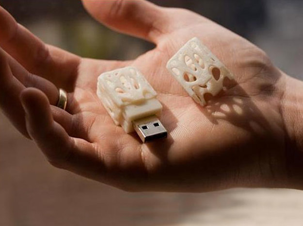 Growth Pattern Usb Drive 3d printed White Strong & Flexible