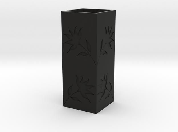 Engraved Flower Vase - Black in Black Natural Versatile Plastic
