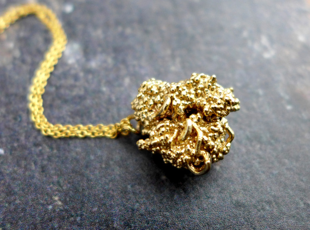 CRISPR Pendant - Science Jewelry in Natural Brass