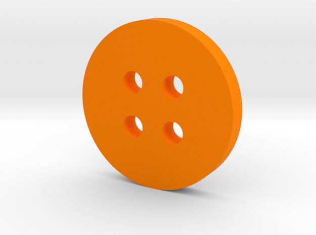 Simple Circle Button in Orange Processed Versatile Plastic
