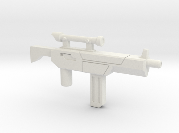 Tek-Tac Machine Gun in White Natural Versatile Plastic: Small
