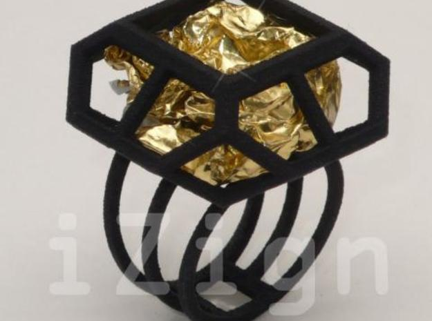 ring08 XL 19 3d printed ring XL black (gold wrapper not included)