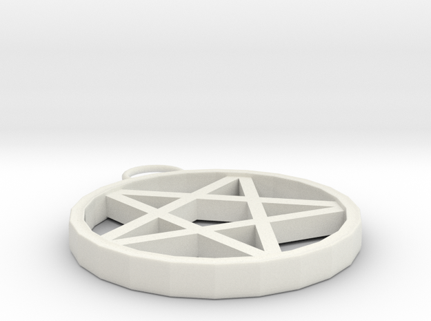 Upside down pentagramPendant in White Strong & Flexible: Small
