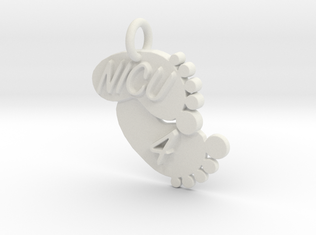 NICU 4 Keychain in White Natural Versatile Plastic