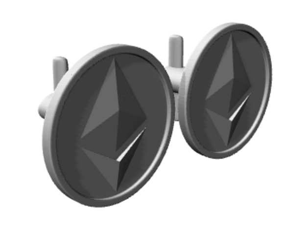 Ethereum Cufflinks in Polished Silver