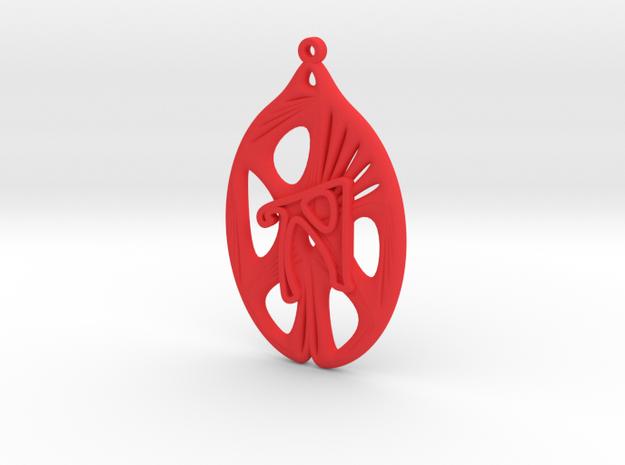Personalised Voronoi Catenoid Curve Earring (001b) in Red Processed Versatile Plastic