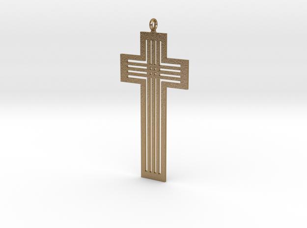 Designer Cross in Polished Gold Steel