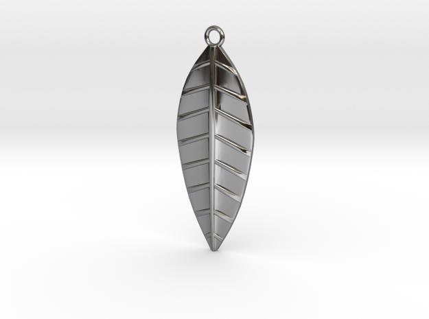 The Palm Leaf Pendant in Fine Detail Polished Silver