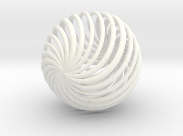 Geometric Swirl in White Processed Versatile Plastic