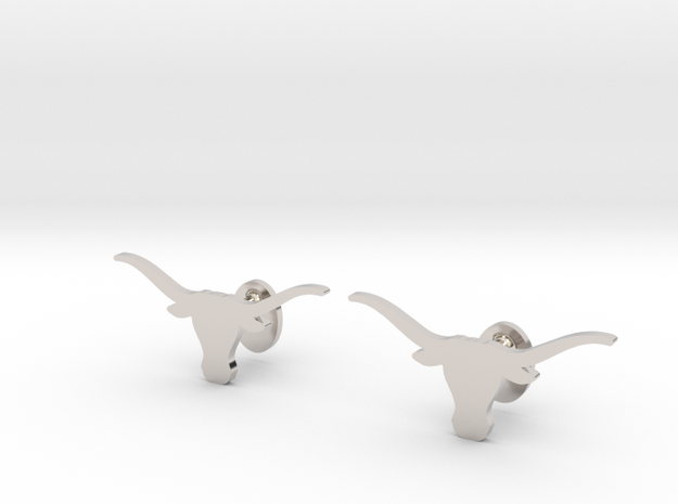 Texas Longhorns Cufflinks, Customizable in Rhodium Plated Brass