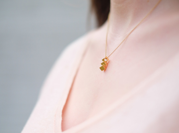 Pyrite pendant in 18k Gold Plated Brass
