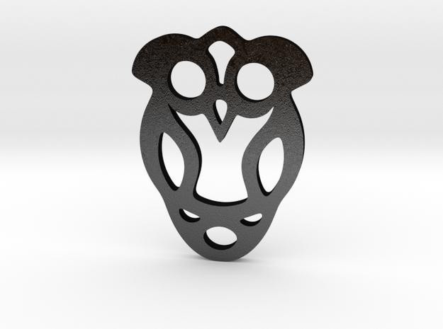 Owl Pendant in Matte Black Steel