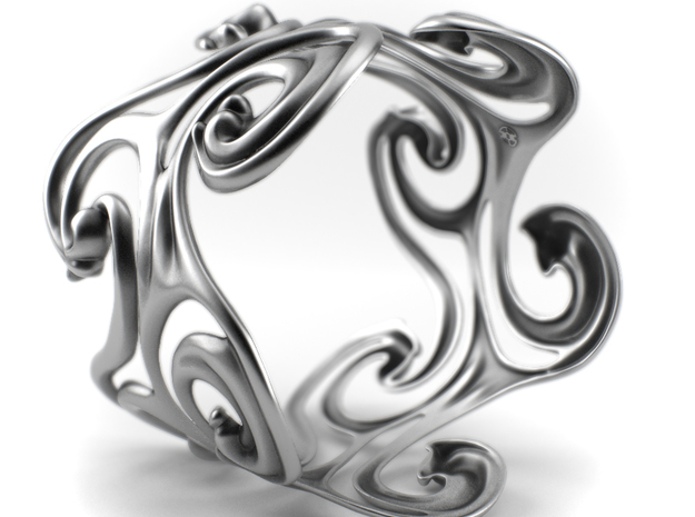 Surf Waves - Sterling Silver Cuff Bangle in Antique Silver: Medium
