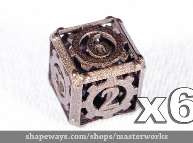Steampunk 6d6 Set 3d printed Antique Bronze Gloss