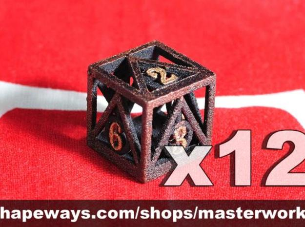 Deathly Hallows 12d6 Set 3d printed Plastic with Copper/Gold Rub'n'Buff