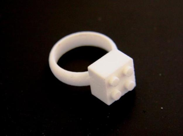 Building Blocks Ring 3d printed White Strong & Flex