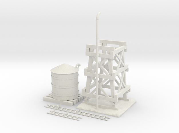 Water Tower Improved in White Natural Versatile Plastic